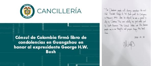 El Cónsul de Colombia firmó libro de condolencias en Guangzhou en honor al expresidente George Bush
