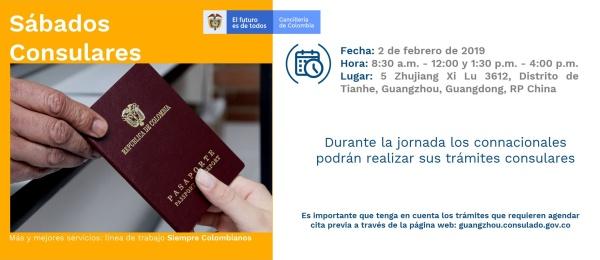 Jornada de Sábado Consular el próximo 2 de febrero en el Consulado de Colombia en Guangzhou